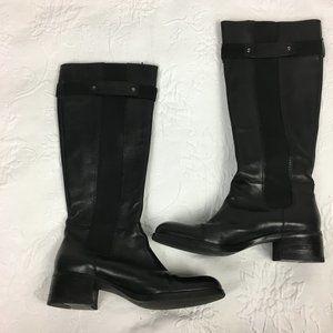 Franco Sarto L-June Black Leather Riding Boots